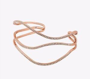 NWT!! $125 MICHAEL KORS Wonderlust Pavé Rose Gold-Tone Wave Cuff Bracelet