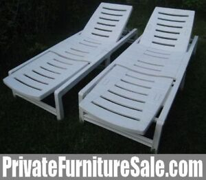 2 Identical Folding Plastic Lounges,multiple positions +cushions