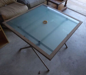 Foldable square patio table with glass top