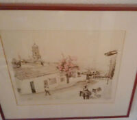 Beautiful street scene sketch with tree in blossom $45