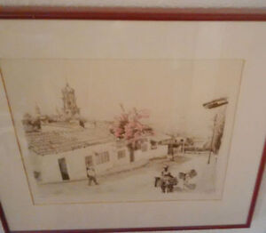 Beautiful street scene sketch with tree in blossom $45 Kitchener / Waterloo Kitchener Area image 1
