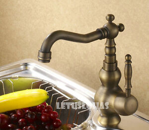 Single-Handle-Antique-Brass-Kitchen-Sink-Faucet-Mixer-Tap-1129