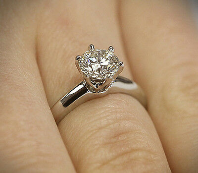 1 Ct Diamond 6 Prong Sparkling Sterling Silver Engagement Wedding Ring
