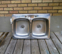 Double Sink with Strainers