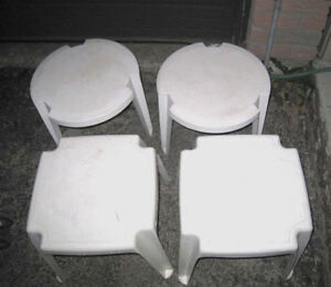 2 Pair of White Plastic small Patio Side Tables,$25 EACH Pair