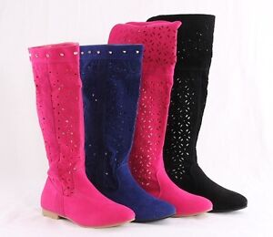 Womens-Mesh-Spring-Ladys-Studded-Rivet-Zip-Cuban-Knee-High-Casual-Boots-Shoes