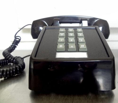 Vintage Retro Push Button Telephone Black Landline w Bell Ringer Model 2500