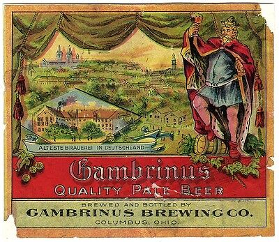 Pre-pro Gambrinus Pale Beer Label - Columbus, OH