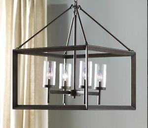 Beautiful Iron & Glass 4-Light Pendant – Flawless – SAVE 70%!!