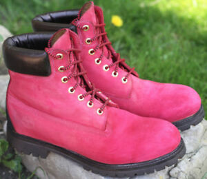 Custom painted Red Mens Timberland Suede Boots, size 10.5