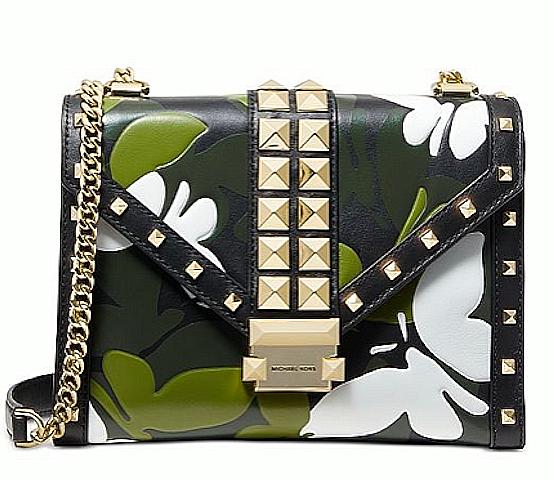 Michael Kors Black Multi-Gold Camo Butterfly Whitney Chain Crossbody Bag