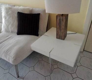 Modern White & Chrome Legs Lamp Table