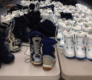100 New Kids Pairs of Snowboard Boots and Bindings Best Offer On Wholesale Lot Morrow Lamar Firefly Millenium 3