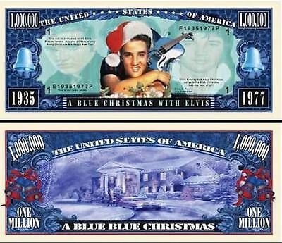 Elvis Presley Blue Christmas Million Dollar Funny Money Novelty Note+FREE SLEEVE ()