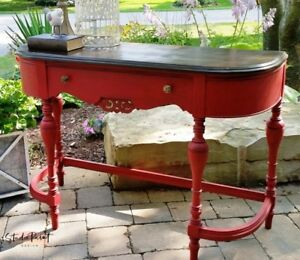 Painted and Refinished Red Jacobean Desk Hall Sofa Table