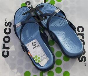CROCS-ADARA-SLIP-ON-SANDAL-MARY-JANE-BEACH-SHOE-Navy-Blue-Womens-9-NWT