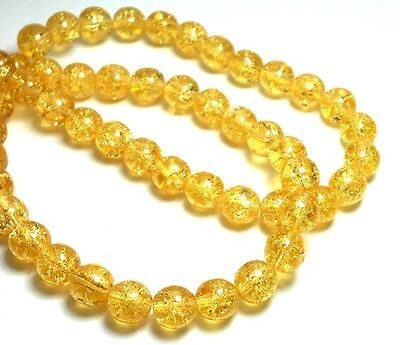 25 8Mm Yellow Crackle Beads Round Topaz Quality Czech Glass D D14