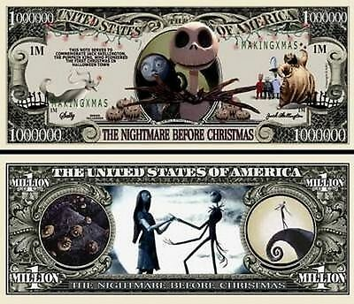 Nightmare Before Christmas Million Dollar Bill Fake Funny Money + FREE SLEEVE