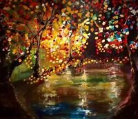 """Magical and whimsical """" Night Falling  """" acrylic art by Remi"""