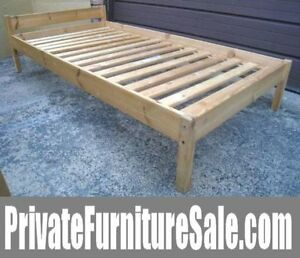 Solid Wood Single Bed, including slats to support a mattress($$)