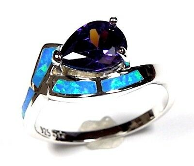 1.25 Carats Amethyst & Blue Fire Opal Solid 925 Sterling Silver Ring Sz 6,7,8,9 1.25 Carats Amethyst Ring