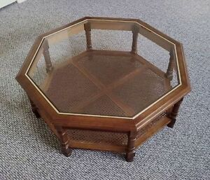 Solid Oak Glass Top Coffee Table with Cane Shelf