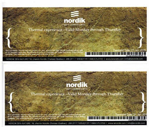 Nordic Spa - gift certifivate for two Mon. to Thu
