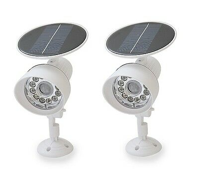 2PACK White New Solar Powered Motion Sensor Security light 12 LED Garage Outdoor