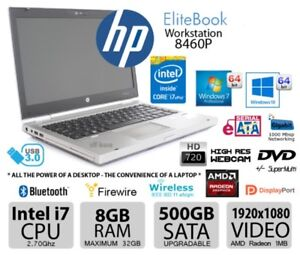 Laptop HP 8460P Intel i7 8GB RAM 500GB  RADEON OR Intel HD