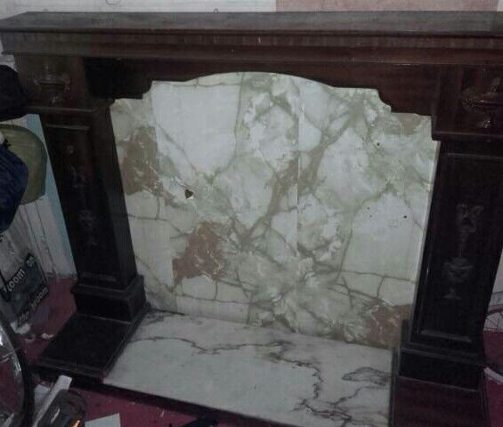 Mahogany and marble fire surround