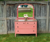Restyled vintage dresser with swivel mirror in coral!