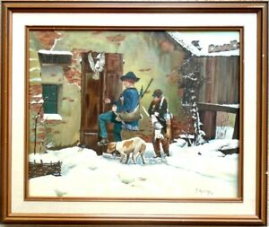 J. Konings oil painting of Rabbit Hunters 1986 framed