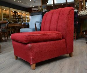 Vintage Red Upholstered Chair at Ibon Antiques