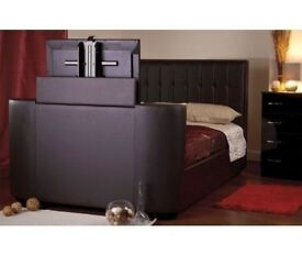 """Brown leather 4""""6 T.V bed"""