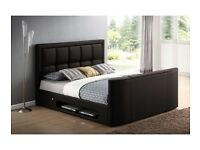 BRAND NEW LEATHER TV BED FRAME + FREE MATTRESS + DELIVERY