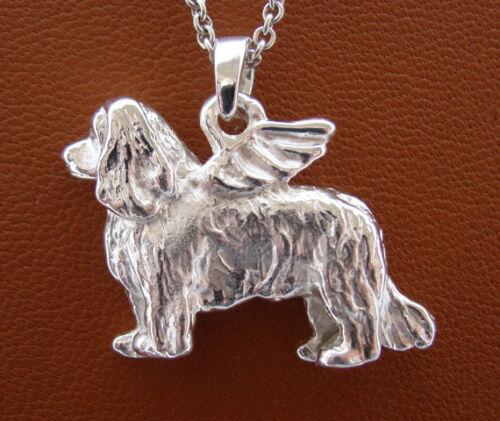 Sterling Silver Cavalier King Charles Spaniel Angel Pendant