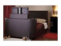 "Stunngin 4""6 Faux brown leather T.V bed"