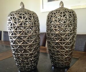 Homewares - selling 2 Large chrome xanti jars South Penrith Penrith Area Preview