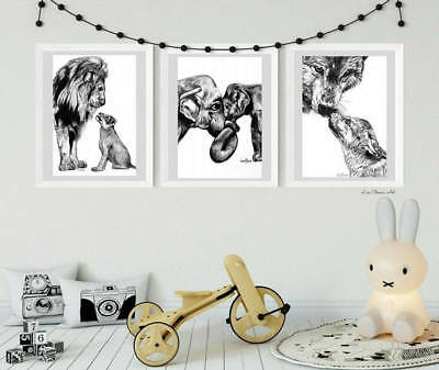 s, Mother Father Baby Lion Elephant Wolf Prints, parenthood (Baby Animal Prints)