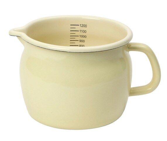 Dexam Vintage Home 1.2L Large Enamel Measuring Jug, Buttermilk Cream