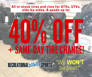 "40% OFF // STI OUTBACK MAX 30"" ATV TIRES ON STI HD4 RIMS"