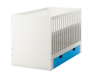 IKEA - stuva crib with blue drawers for sale