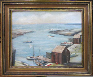 BEAUTIFULLY DETAILED OIL  PAINTING OF A FISHING PORT SIGNED
