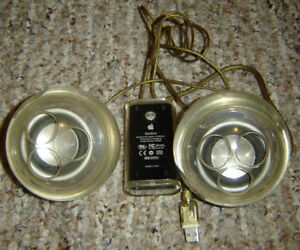 VINTAGE APPLE COMPUTER HARMON KARDON CLEAR ORB ROUND SPEAKERS