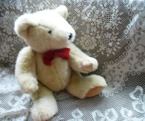 """21-24"""" SOFT JOINTED CHAMPAGE BEIGE STOCKY TEDDY BEAR, RED BOW"""