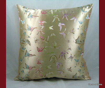 New Silk Cushion Cover Pillow Case Ivory Butterfly (Ivory Pillow Case)