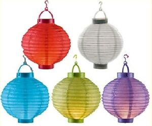 LED Lampion Laterne Papierlaterne 5 er Set Ø 20 cm in 5 Farben Mix Farben Set