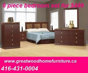 BEDROOM SET  6 PIECE  $499 BRAND NEW .CHOICE OF COLORS