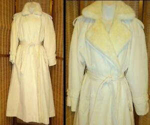 FULL-LGTH TRENCH Lined with Pure CREAM Mink LARGE 12 14 Vintage