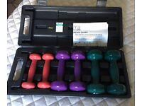 Set of ladies' dumbells - 3 sets (0.5 Kg 1 Kg and 1.5 Kg